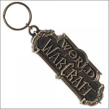 World of Warcraft Logo Sculpted Metal Keychain KeyRing Bag Zipper Pull OFFICIAL
