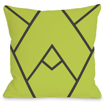 """Mountain Peak"" Indoor Throw Pillow by OneBellaCasa, Green, 16""x16"""