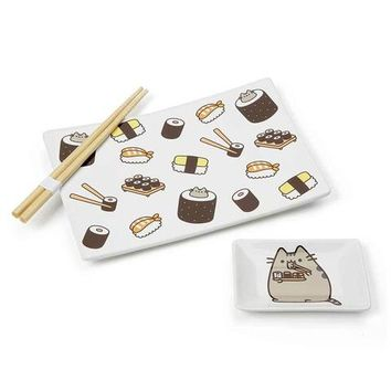 Pusheen Sushi Plate and Soy Sauce Plate Set