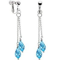 Body Candy Handcrafted Brilliant Blue Chain Drop Clip Earrings Created with Swarovski Crystals