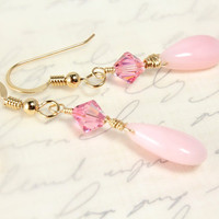 Pink Peruvian Opal Earrings, Swarovski Crystals, Gold Filled, Teardrop Opals, October Birthstone, Bridal Earrings