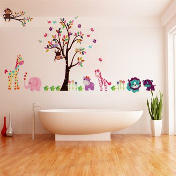 2Pcs Large Jungle Tree Wall Sticker Kids Nursery Decals Girls Bedroom Mural Animals