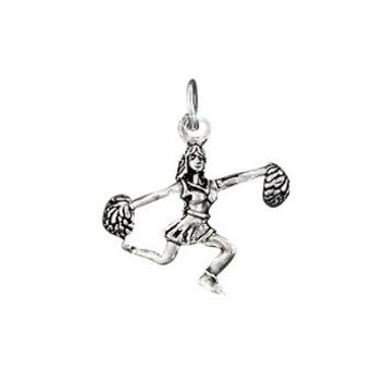 Sterling Silver Cheering Pom Poms Cheer leader charm pendant