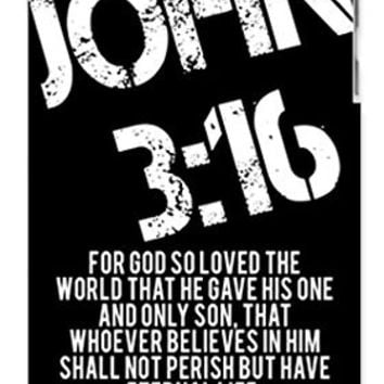 RCGrafix Bible Verse Religious Quote John 3-16 Distressed Look - Hip & Cool Direct-To-Case Printed Apple ipod 4 Quality Hard Case Snap On Skin for ipod 4/4G (WHITE)