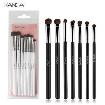RANCAI 7pcs Eye shadow Makeup Brushes Set Natural Animal Horse Pony Soft Hair Cosmetics Blending Smudge Shader Brush Beauty Kit