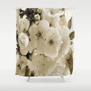 Cherry Blossoms Monochrome Shower Curtain by ARTbyJWP