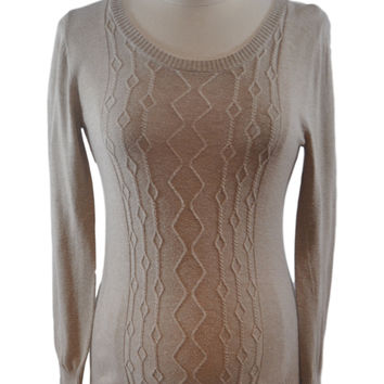 Tan Scoop Neck Sweater by Liz Lange