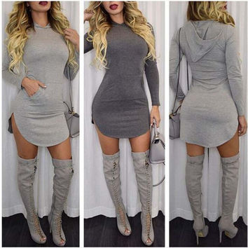Womens Trendy Hooded Long Sleeve Shirt Mini Dress