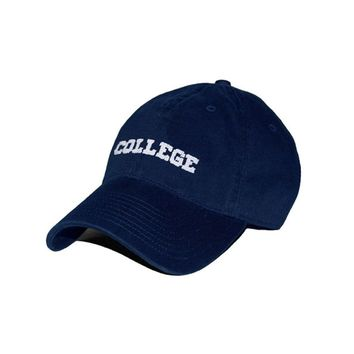 College Needlepoint Hat in Navy by Smathers & Branson