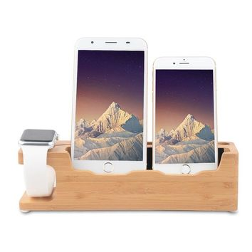 Apple Watch Stand, Ovtel Bamboo 3 in 1 Desktop Cell Phone Stand For all iPhone iWatch Docking Station , Phone 6 6s X 7 8 Plus, Apple Watch 38mm 42mm with Charging Stand Holder Nightstand Mode