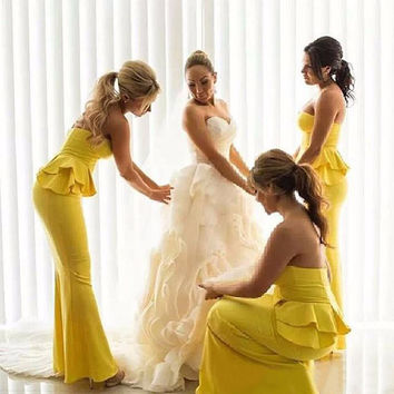 Fashion Yellow Sweetheart Sleeveless Peplum Mermaid Wedding Party Dresses Bridesmaid Gown