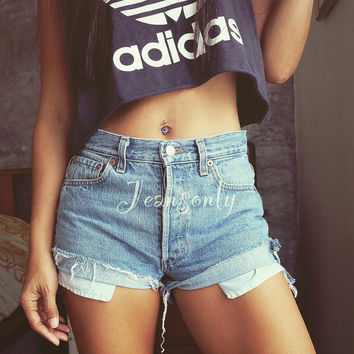 High waisted shorts Levi Hipster Indie Grunge clothing cuffed Rolled denim