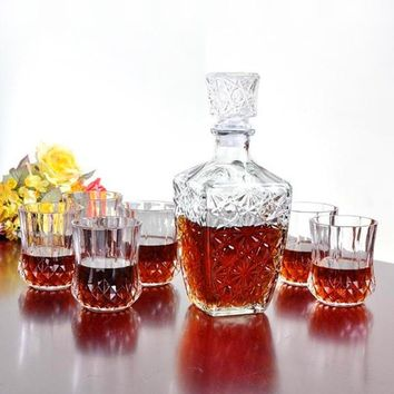 lovelife  500ml 1000ml High Quality Glass Whiskey Liquor Wine Drinks Decanter Crystal Bottle Wine Carafe Gift