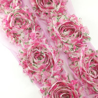 Pink emerald floral shabby flower trim - wholesale shabby trim - rose trim - chiffon trim - wholesale shabby flowers by the yard