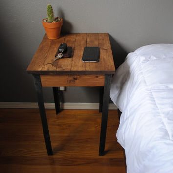 Rustic Side / End table Nightstand with Iron legs 18x15x you choose height