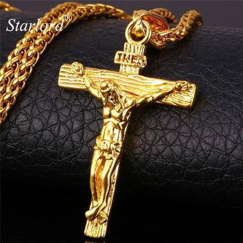 INRI Jesus Piece Crucifix Pendant&Necklace Stainless Steel Yellow Gold Color Chain For Men Gift Vintage Christian Jewelry GP1166