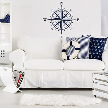 Compass Rose Wall Decal Nautical Decor, North South East West Compass Vinyl Wall Decals, Travel Wall Decal Nautical Theme Bedroom Decor K92