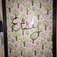 Owl and Tree Custom Dry Erase Board and Pen