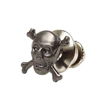 Novel Idea Men's Skull-and-Crossbones Tie Tack (OS, Silver)