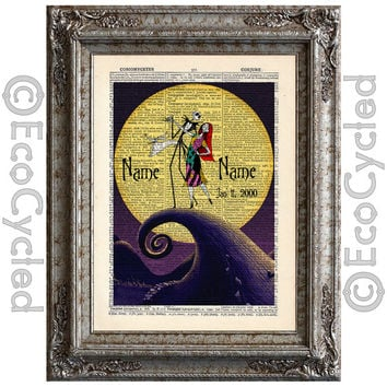 Nightmare Before Christmas 9 with Names & Date on Vintage Upcycled Dictionary Art Print Book Art Print Anniversary Wedding Jack Sally Custom