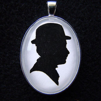Charlie Chaplin as the Little Tramp Silhouette Cameo Pendant Necklace