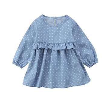 Newborn Toddler Kids Baby Girl Denim Dot Dress Ruffle Long Sleeve Princess Girl Winter Dresses Casual Kids Dress