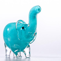 Sky Blue Baby Elephant Glass Pipe