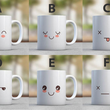 Cute Funny Mugs Set Emoticon Coffee Mugs Kawaii Home Kitchen Coffee Lovers Housewarming Gift Birthday Gift for Her Hostess Gift Party Favor
