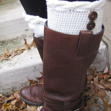 Boot Socks-Buy 2 get 1 FREE-Boot Cuffs-Full boot Sock sock Included- Topper-Boot Sock- Ivory- Large Cable Knit -Full sock included