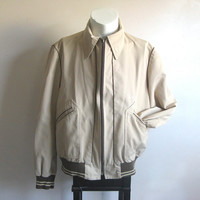 Vintage 1960s Spring Coat Brown Two Tone Bomber Light Sport Jacket Large