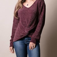 Twist Front Chenille Sweater - Burgundy