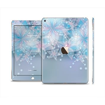 The Translucent Glowing Blue Flowers Skin Set for the Apple iPad Air 2