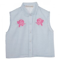 Gingham chiffon rose blouse