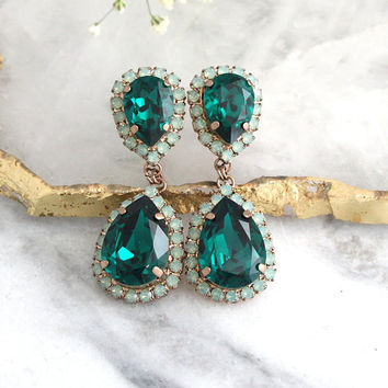 Emerald Earrings, Emerald Green Earrings, Emerald Chandlier Earrings, Green Emerald Drop Earrings, Bridal Emerlad Dangle Crystal Earrings