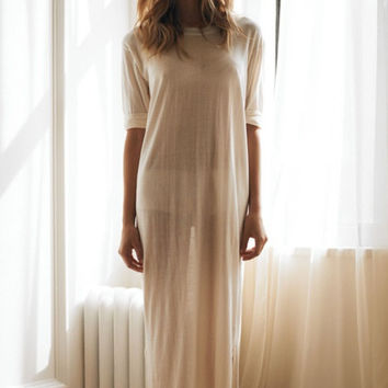 Bridal Summer Silk Knit Tee Shirt Nightgown Sheer Light Honeymoon Wedding Lingerie Sleepwear