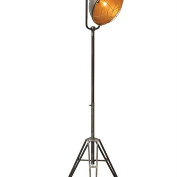 Vintage Metal Floor Lamp with Tripod Stand -- 61-3/4-in