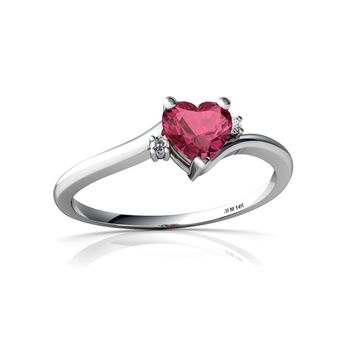 14kt Gold Pink Tourmaline and Diamond 5mm Heart Delicate Heart Ring