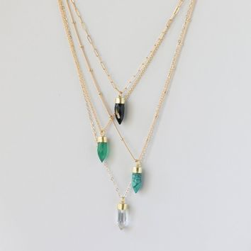Gemstone Pendant Necklace - Crystal Point Necklace - Turquoise Jewelry - Black Onyx Necklace - Long Chain Necklace - Bohemian Jewelry