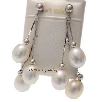 14K SOLID WHITE GOLD GENUINE TRIPLE FRESH WATER PEARL DANGLE EARRINGS