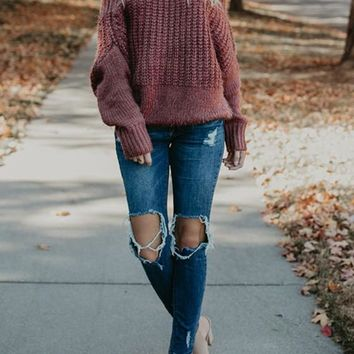 Dark Red Braid Off Shoulder Slouchy Long Sleeve Fashion Pullover Sweater