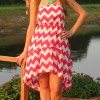 Pink & White Chevron Short Dress