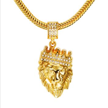 Winter new 18K  gold diamond crown lion head hip hop pendant necklace