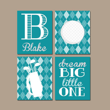 GOLF Wall Art CANVAS or Prints Argyle Pattern Baby Boy Nursery Boy Bedroom Golf Theme Boy Name Print Monogram Initial Set of 4 Crib Decor