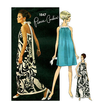 1960s Vogue MoD COCKTAIL HALTER DRESS Pattern Evening Gown Pierre Cardin Vogue 1847 Paris Original Bust 32 Vintage Womens Sewing Patterns