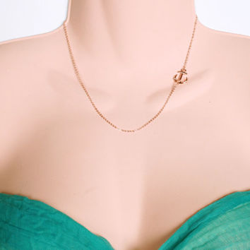 Rose Gold Anchor Necklace  Rose Gold Sideways by PinkChemistry