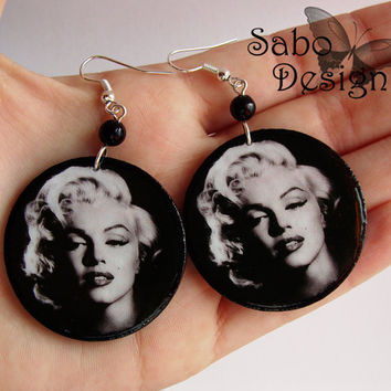 Marilyn Monroe earrings decoupaged earrings high quality black white vintage retro oldschool gift for her under 25