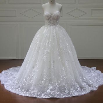 New Design Ball Gown Lace Wedding Dresses Zipper Back Sexy Vintage Wedding Gowns Sweetheart Bridal dress