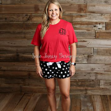 Christmas Pajamas - Red Shirt - Black Polka Dot Shorts
