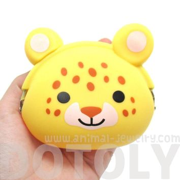 Leopard Cheetah Cat Face Shaped Animal Friends Silicone Clasp Coin Purse Pouch
