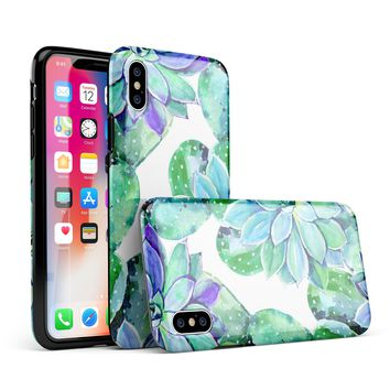 Watercolor Cactus Succulent Bloom V12 - iPhone X Swappable Hybrid Case